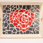 mozaieken dienblad roos