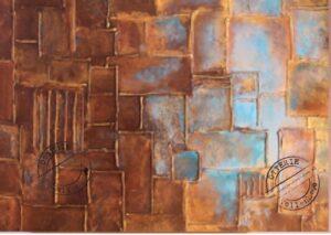 wandkunst relief vlakken brons